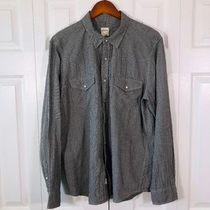 AG Black White Houndstooth Snap Button Shirt XL